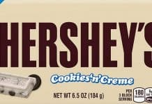 Hershey's Cookies 'n' Creme calories and nutrition facts page logo